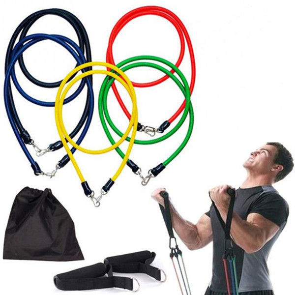 11Pcs/Set Elastic Flexible Yoga Strap Resistance Bands Exercise Kit Home Office Gym Tube Fitness Accessories & Parts