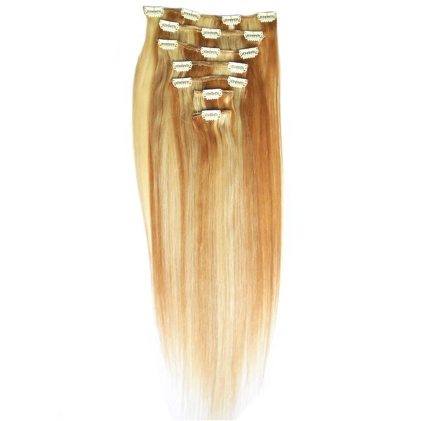 "8pcs Clip In Hair Extensions 14"" 16"" 18"" 20"" 22"" 24"" Machine Made Remy Human Hair Clips Black Brown Blonde 100% Natural Hai 100gr"