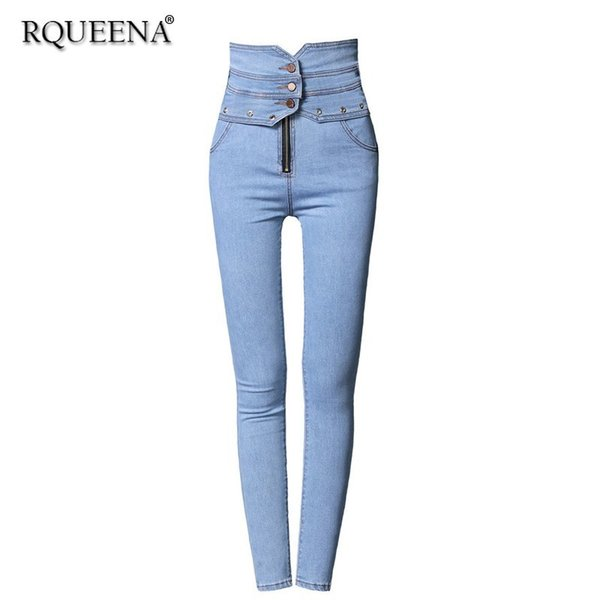 Rqueena 2019 Spring New Women's Jeans Black/Blue Womens Elastic Stretch Pencil Jeans Trousers Denim Pants With High Waist JE007