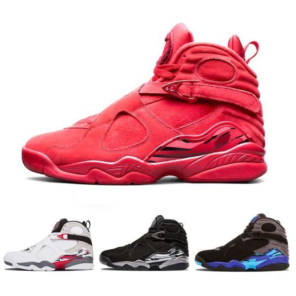 2019 Date Valentines Day Rouge 8 VII 8s chaussures de basket-ball hommes Aqua Chrome COUNTDOWN PACK mens baskets de sport en plein air 8-13