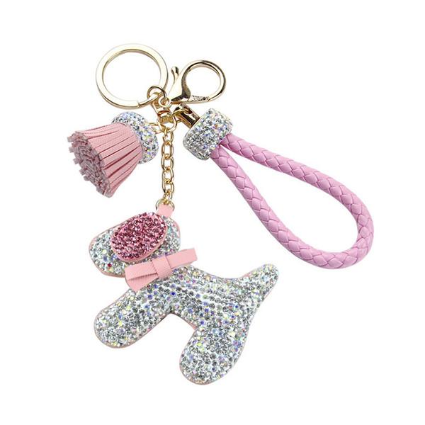 Nette Strass Hund Puppe Keychain Weiblichen Beutel Geldbörse Autoschlüssel Ring Anhänger Cartoon Tiere Hunde Schlüsselanhänger Schmuckstücke Zubehör