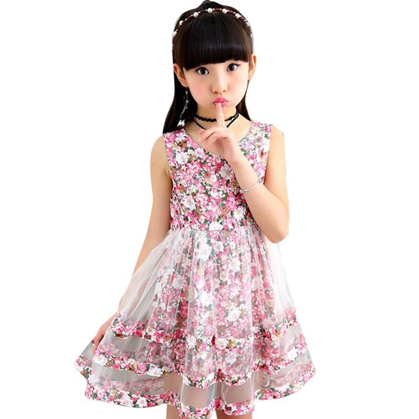 Sleeveless Floral Dress Big Dresses Teenage Summer Clothes For Girls 6 8 10 12 13 14 Year Q190604