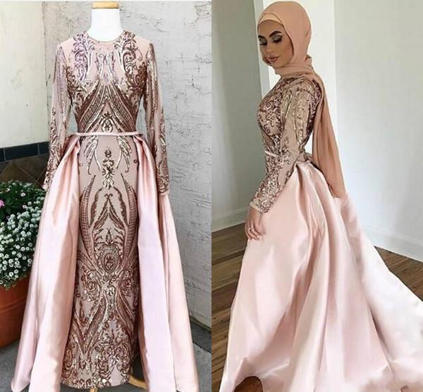 Арабский Дубай Вечерние платья с отстегивающимся шлейфом Мусульманские вечерние платья без хиджаба кафтан абая Платья для выпускного с блестками и длинными рукавами