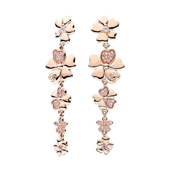 PENDIENTE de la borla de oro rosa de 18K del diseñador de lujo con caja original para Pandora 925 flores de plata esterlina Pendientes largos pendientes de regalo