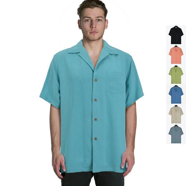 Three Color Shirts Solid Men Silk Short Sleeve Shirt Plus Size Casual Fit 85-130kg Button Single Pocket Gray Black Blue Green Beige Big