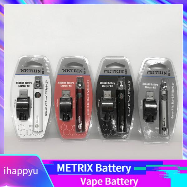 METRIX 650mAh Ön Isıtma Pil Fonksiyonu 650VV METRIX Değişken Gerilim 3.4V ~ 4 V CE3 Vape pil 510 Konu İnce Vape Kartuşları