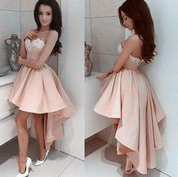 Sexy Design A Line Sweetheart High Low Chiffon Short Prom Dresses Appliques Beaded Cheap Homecoming Party Dresses Custom Made