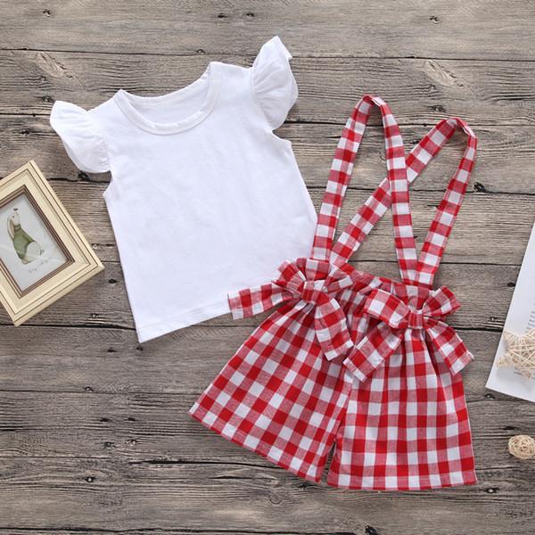 Baby Mädchen Plaid Set 2019 Neue Sommer Kinder Weiß fliegende Hülse T shirts Top + Bogen Plaid Hosenträger Hosen 2 stücke Anzug Kinder Kleidung B11