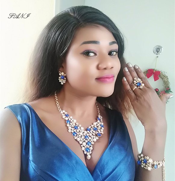 Fani Dubai Gold Color Jewelry Sets wholesale Nigerian Wedding woman accessories jewelry set Fashion African  Set