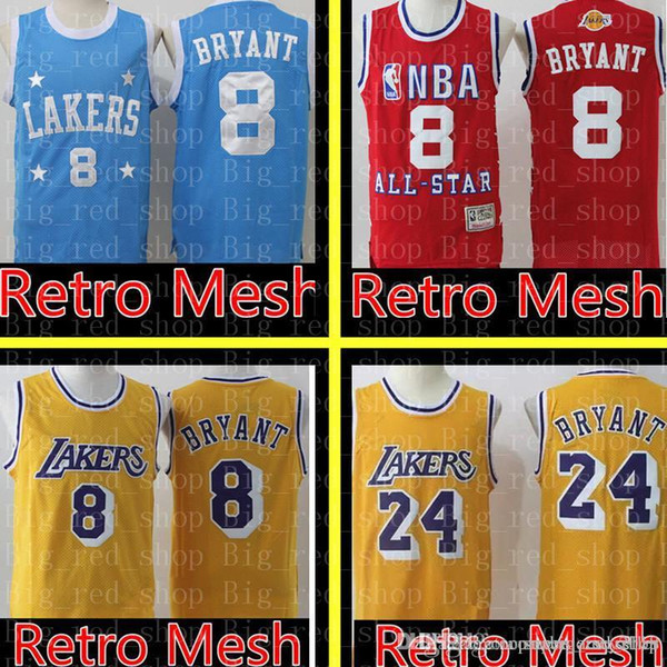 2019 8 Kobe 24 Bryant Laker Jersey Retro Mesh Los Angeles Laker Basketball  Jerseys High School 33 Kobe 32 Johnson Embroidery Logos From