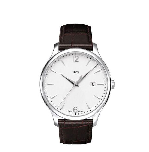 Top Quality T063.610.16.037.00 klassische Herrenquarz weißes Zifferblatt dunkelbrauner Gürtel Edelstahlgehäuse Uhr 42 mm mit Box