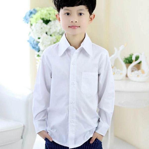 Boys' White Shirt Long Sleeve All Cotton White Shirt Boys' Children's Dress CUHK Children's School Uniform Garden Dress Class Dress