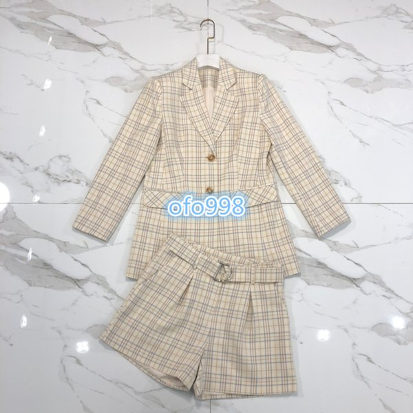 Womens shorts Suit tops coat lapel neck lattice printing Button Long sleeve Suit tops tee and High waist wide leg shorts Fashion suit