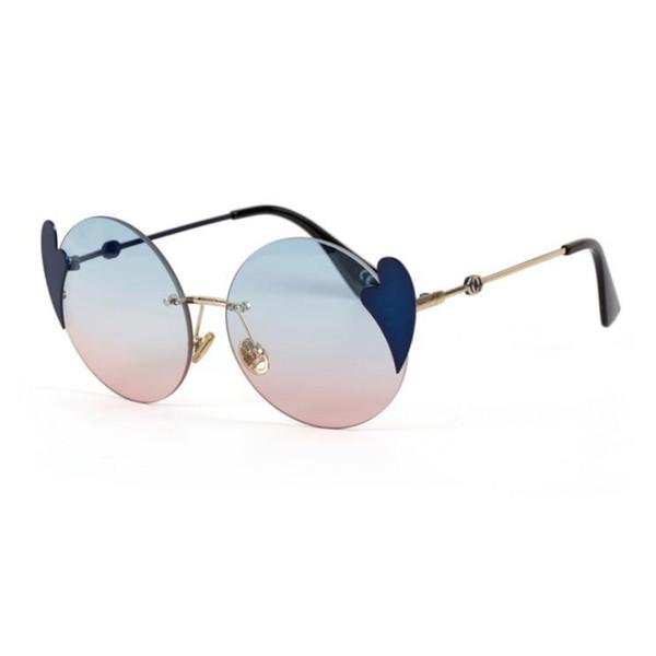 Vintage Love heart designer round sunglasses brand shades for women Ladies eyewear trendy Oculos de sol