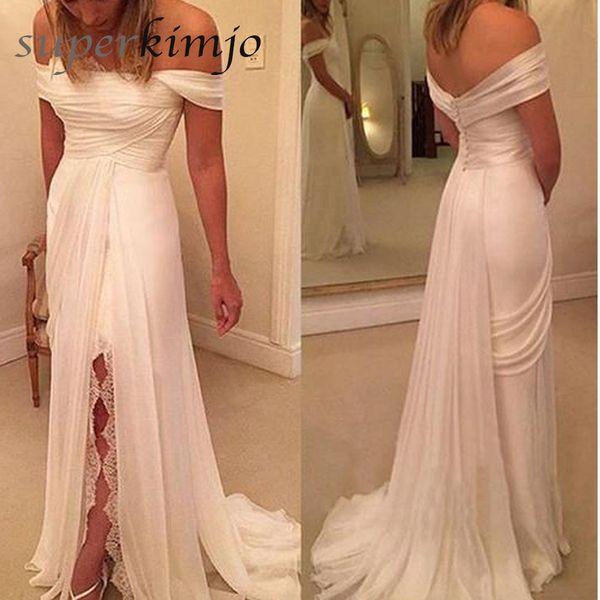 Пляж свадебные платья с плеча сторона щели кружева шифон линия Boho свадебные платья цвета слоновой кости