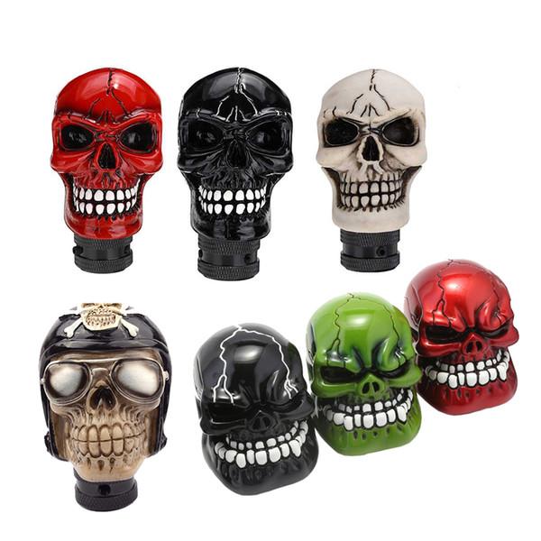 Manual Gear Universal Pommeau de levier Shifter levier Wicked Skull Sculpté Pomo marchas Noir Vert Rouge Argent D5
