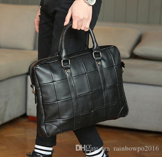 Original design brand of soft leather briefcase bag trend men Vintage AONISI portable computer bag mens casual men briefcase