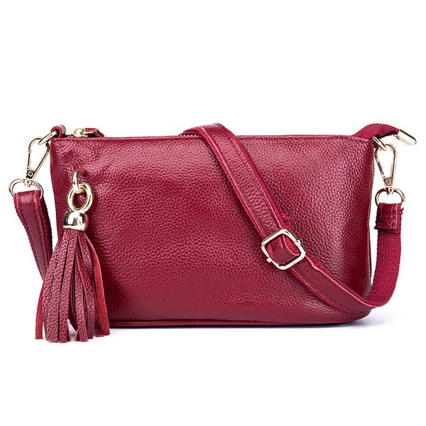 Charm2019 Cowhide Layer Head Fund Bag Tassels Oblique Satchel Woman Genuine Leather Ol Small Square Package Concise