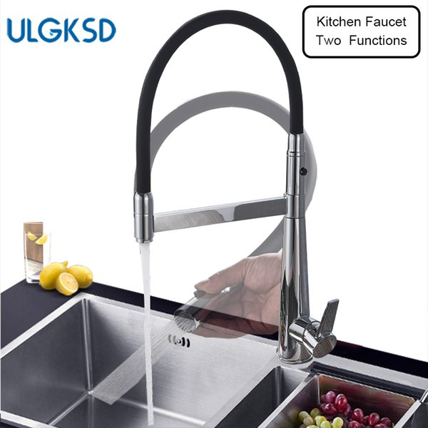 2019 Ulgksd New Kitchen Faucet Pull Down Sprayer Black Tub And Chrome Brass  Sink Faucet 2 Ways Outlet Cold And Hot Kitchen Mixer From Narciss, $96.25  ...