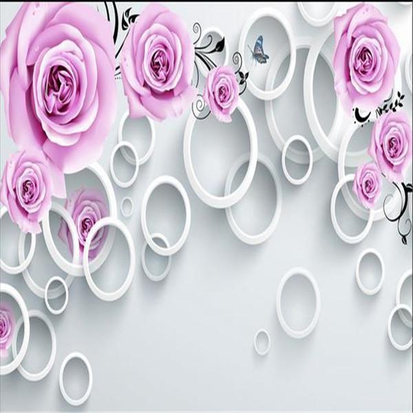 3d stéréoscopique rotin rose pourpre personnalisée fond d'écran TV Europe papier peint toile de fond salon chambre