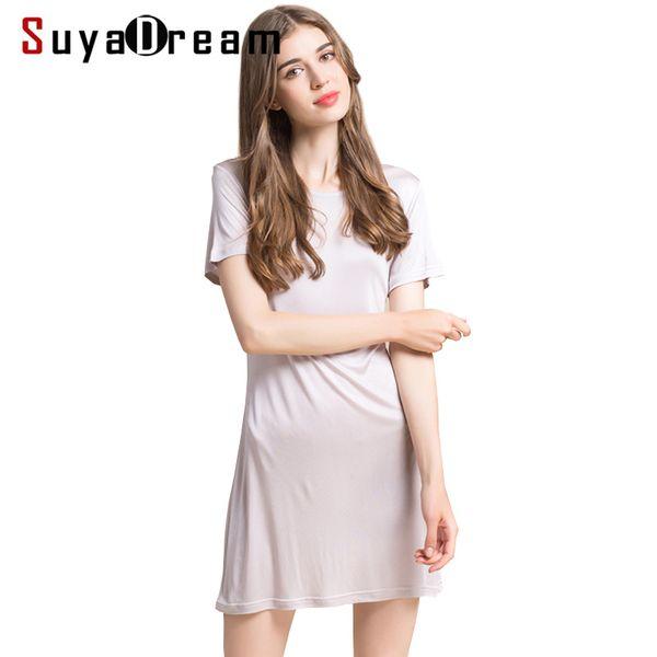 Women Full Slips 100%real Silk Short Sleeve Slip Solid Nude White Black Anti Emptied Dress New Underwear Comfortable 2017 New Y19071901