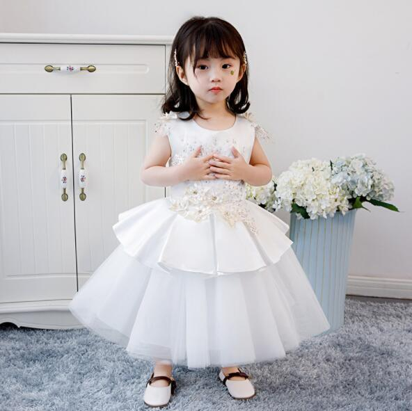 2019 New Baby Girls White Wedding Dress Baptism Christening Gown Pageant Dresses Floral Toddler Princess Party 1 Year Birthday Clothes