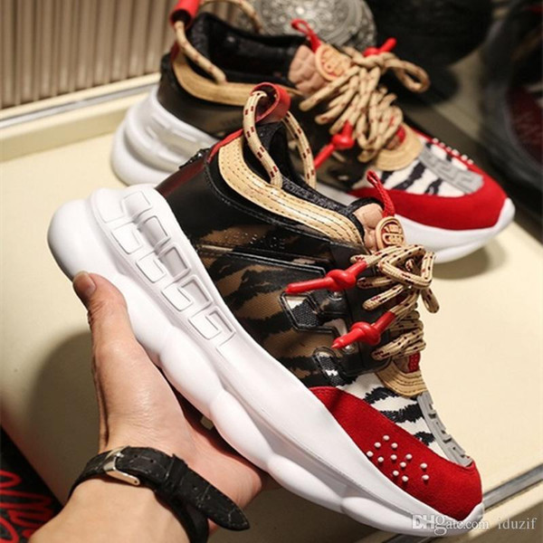 2020 NEW With Dust Bag New Chain Reaction Shoes Link-Embossed Sole Luxury Casual Designer Men Women Shoes Sport Sneakers