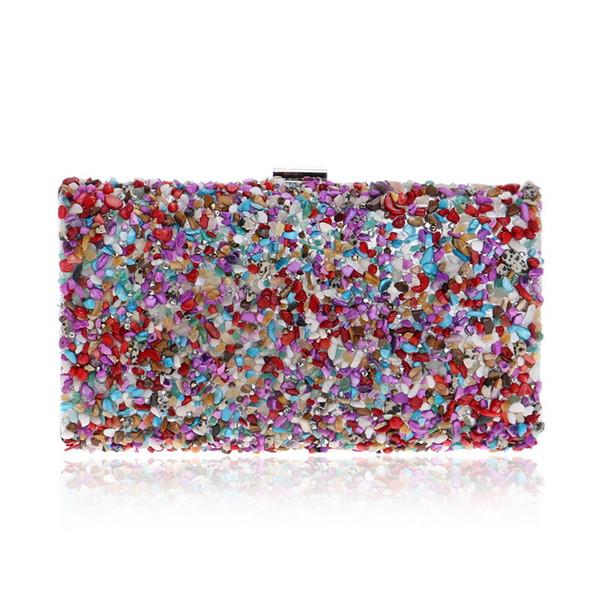 Elegant Ladies Evening Clutch Bag with Chain Color Stone Shoulder Bag Women's Falp Handbags Purse Wallets for Wedding