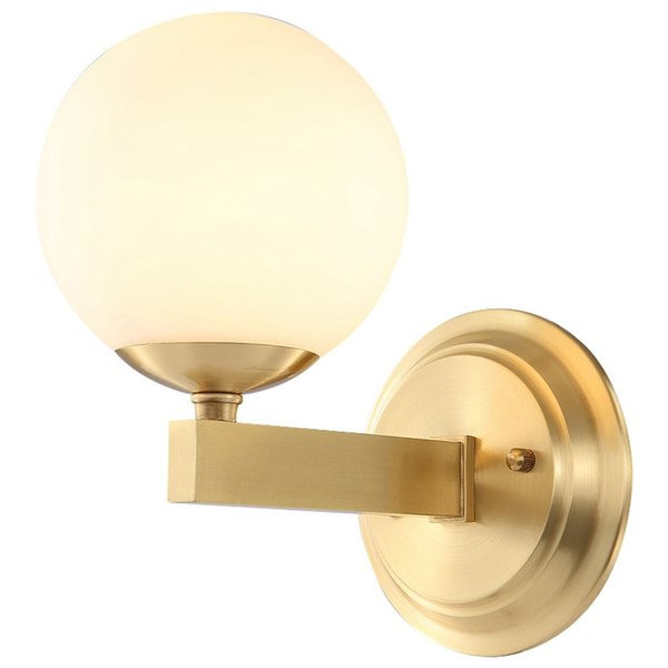 New Modern Glass Ball Copper Bedroom Bedsides Wall Lights American Simple Copper Stair Case Corridor Wall Lamp