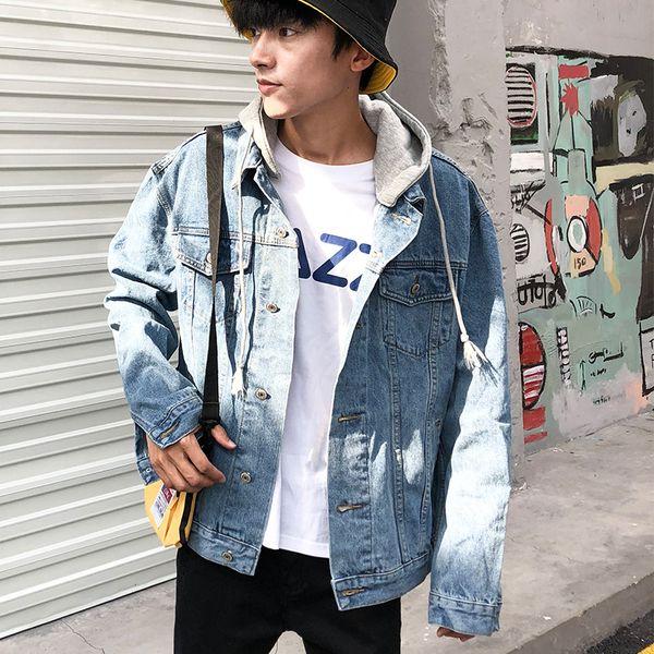 Compre Chaqueta Vaquera De Los Hombres Vaquero Otoño Prendas De Vestir Exteriores Fresco Salvaje Universidad Estilo Casual Coreano Azul Claro Agujero