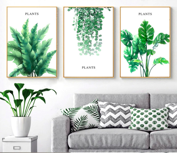 Nordic Green Plant Leaf Canvas Painting Vintage Wall Pictures Kraft Posters Coated Wall Stickers Home Decoration Kids Gift