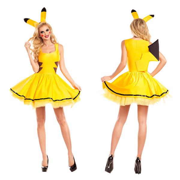 Disfraces de Halloween para adultos animales Carnaval atractivo de las mujeres más el tamaño de vestido amarillo falda de fiesta de Navidad del traje de Cosplay del vestido de lujo de Pikachu
