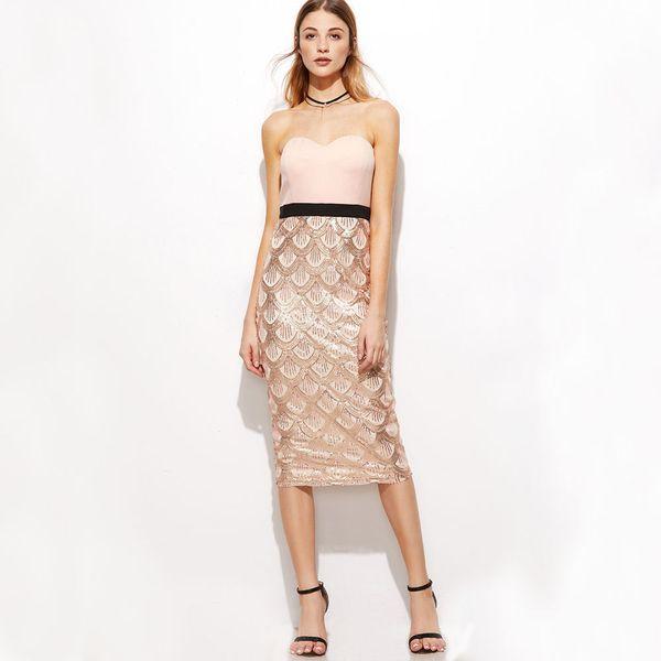 Sexy acolchado sin tirantes de la escala de pescado de lentejuelas partido vestido midi Vestido vaina de hombro Bodycon túnica de oro rosa vestido del Club de las mujeres