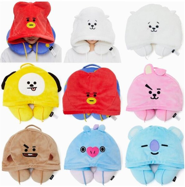 Hoodies & Sweatshirts Cute cartoon Q version Hooded U-shaped plush warm comfortable Pillow Travel Neck Cushion Pillow