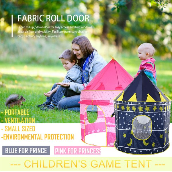 top popular Pop Up Play Tent Pink Blue Kids Castle Portable Outdoor Garden Folding Toy Tet Children Play House Ventilation Farbic Roll Door 2021