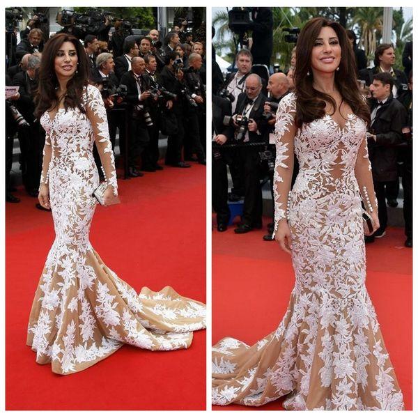 2019 Sheer Long Sleeves Slim Hot Najwa Karam in Cannes Film Festival White Lace Evening Celebrity Dress Inspired Cannes Festival Prom Gowns