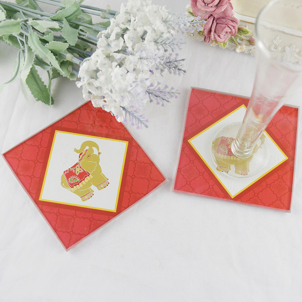 FEIS hotsale 2PCS glass coaster festival elephants table mate baby shower wedding favor company ceremony gifts