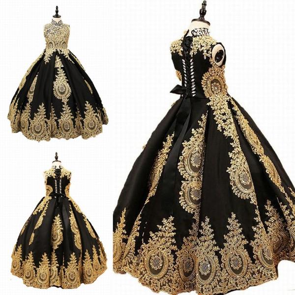 High Collar Golden Appliques Girls Pageant Dresses Black Tulle Flower Girl Dress For Wedding Girl's Floor Length Child Party Birthday Dress