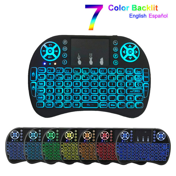 top popular i8 keyboard backlit English España French Air Mouse 2.4GHz Wireless Keyboard Touchpad Handheld for Android TV Box H96 max A95X F3 X96 2021