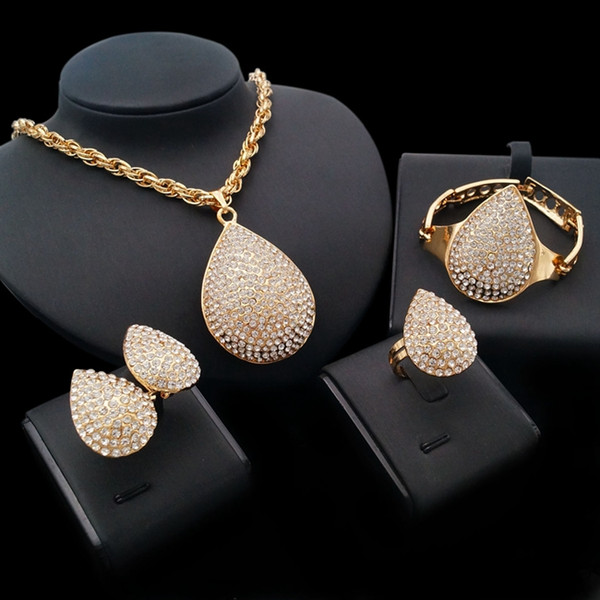 Yulaili African Jewelry Set Dubai Gold Water Drop Necklace Earrings Jewelry Sets For Women Wedding Party Occasion Free Shipping