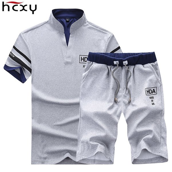 Hcxy 2019 Men's Summer Sets Shorts + Short Sleeve T Shirt Men Beach Shorts Tee Male Elastic Waist Shorts Homme Solid Color S430