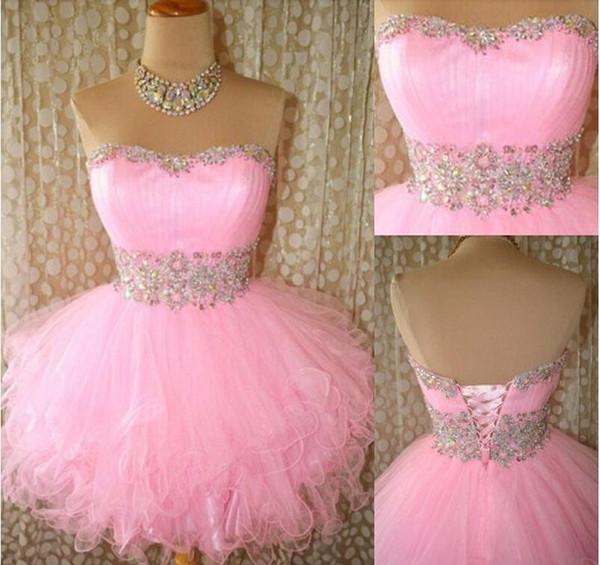 Chegada Nova Vestidos Homecoming 2020 curto Mini rosa Prom Vestidos de cristal Cocktail Vestidos de lantejoulas frisado partido Ruffled Curto real Amostra