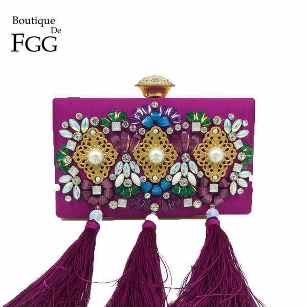 Boutique De Fgg Crystal & Beaded Women Purple Satin Tassel Evening Bags Fashion Wedding Party Metal Day Clutches Handbag Purse