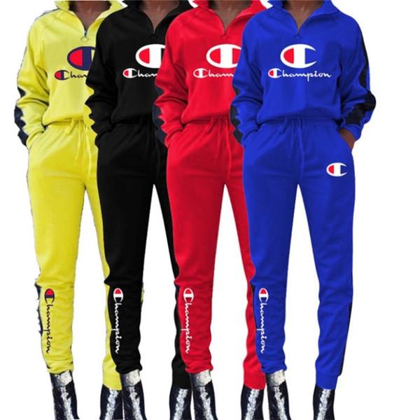 campeão Mulheres sportswear hoodie do designer de treino queda terninho roupas 2 pedaço da camisa set camisola legging terno ocasional carta ternos klw1998