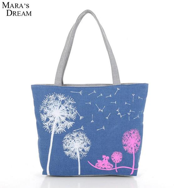 2019 Fashion Mara's Dream 2018 New Fashion Dandelion Canvas Bag Printed Flowers Zipper Women Handbag Shoulder Bags Women Messenger Bags
