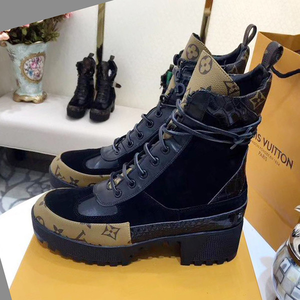 Women Boots Genuine Leather Martin Ankle Fashion Boots Laureate Platform Desert Boot Botas de mujer 2019 Fashion Shoes Vintage Drop Ship