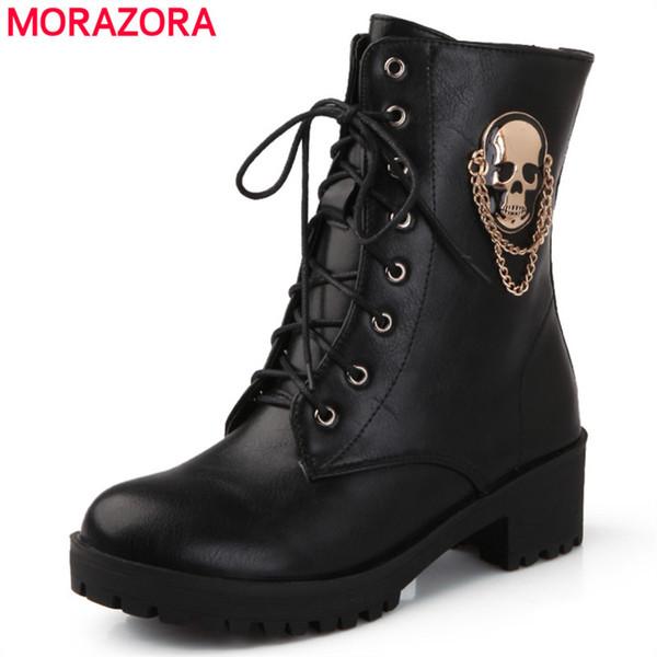 MORAZORA 2019 hot sale ankle boots for women skull street lace up platform women's boots fashion ladies autumn winter shoe