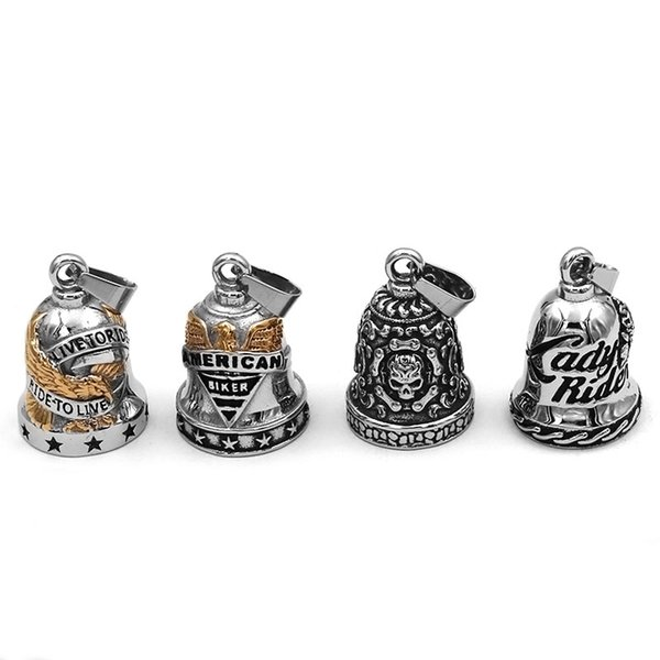 Free shipping (Has bell sound) Live To Ride Eagle Motor Biker Bell Pendant Stainless Steel Skull Rose Lady Rider Pendant 496B