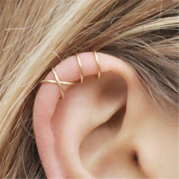 Pendientes de cartílago de encanto chapado en oro rosa Pendientes de doble oreja para los amigos Regalos para los amigos