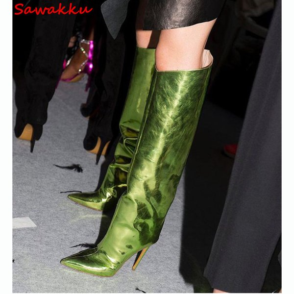 Mirror Metallic Leather Knee High Boots Sexy Pointed Toe Stiletto High Heels Long Shoes Woman Summer Autumn Runway Botas Green